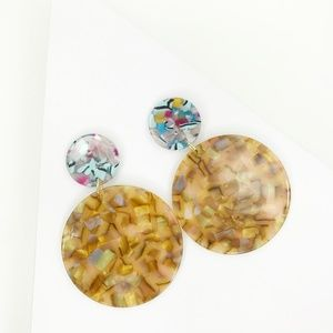Circle Drop Earrings in Iridescent Camel with Blue